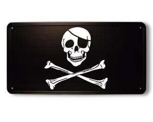 Blechschild Pirat mit Knochen