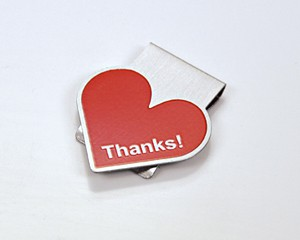 Büroklammer PremioClip Thanks! Herz