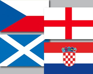Flaggen Set Gruppe D Fußball EM 2020