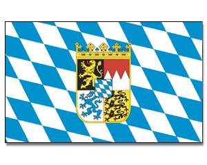 Flagge Bayern mit Wappen