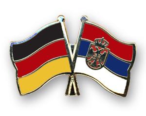 Freundschaftspins Deutschland-Serbien mit Wappen