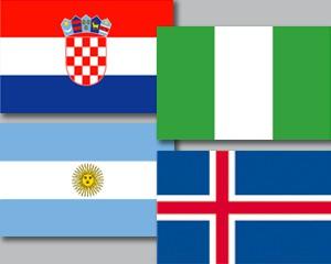 Flaggen Set Gruppe D Fußball WM 2018