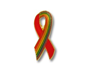 Pin: Red Ribbon/Rainbow-Ribbon, 19 mm