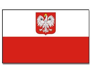 Stock-Flagge Polen mit Adler