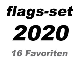 Flaggen-Set Fußball EM 2020: 16 EM 2020-Favoriten: 16 Flaggen 90 x 150 cm