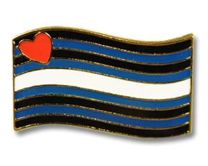 Pin: Leather Pride Flag (geschwungen), 24 mm