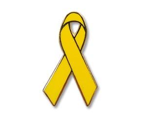 Pin: Gelbe Schleife mit Goldrand, 30 mm (hoch)