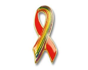 Pin: Red Ribbon/Rainbow-Ribbon, 25 mm