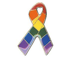Pin: Rainbow Ribbon (horizontal), 19 mm