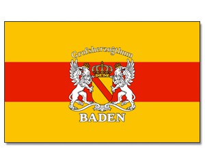 Stock-Flagge Baden mit Wappen 30 x 45
