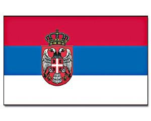 Flagge Serbien mit Wappen