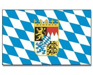 Stock-Flagge Bayern mit Wappen