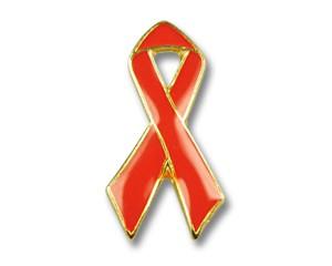 Red Ribbon Pin mit Goldrand 25mm