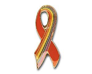 Pin: Red Ribbon/Rainbow-Ribbon, 35 mm