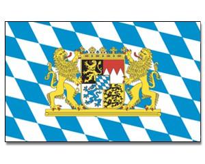 Stock-Flagge Bayern mit großem Staatswappen