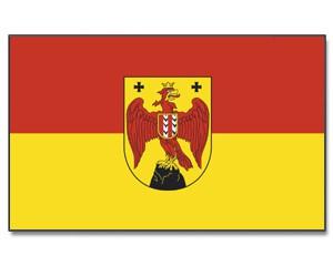 Stock-Flagge Burgenland mit Wappen